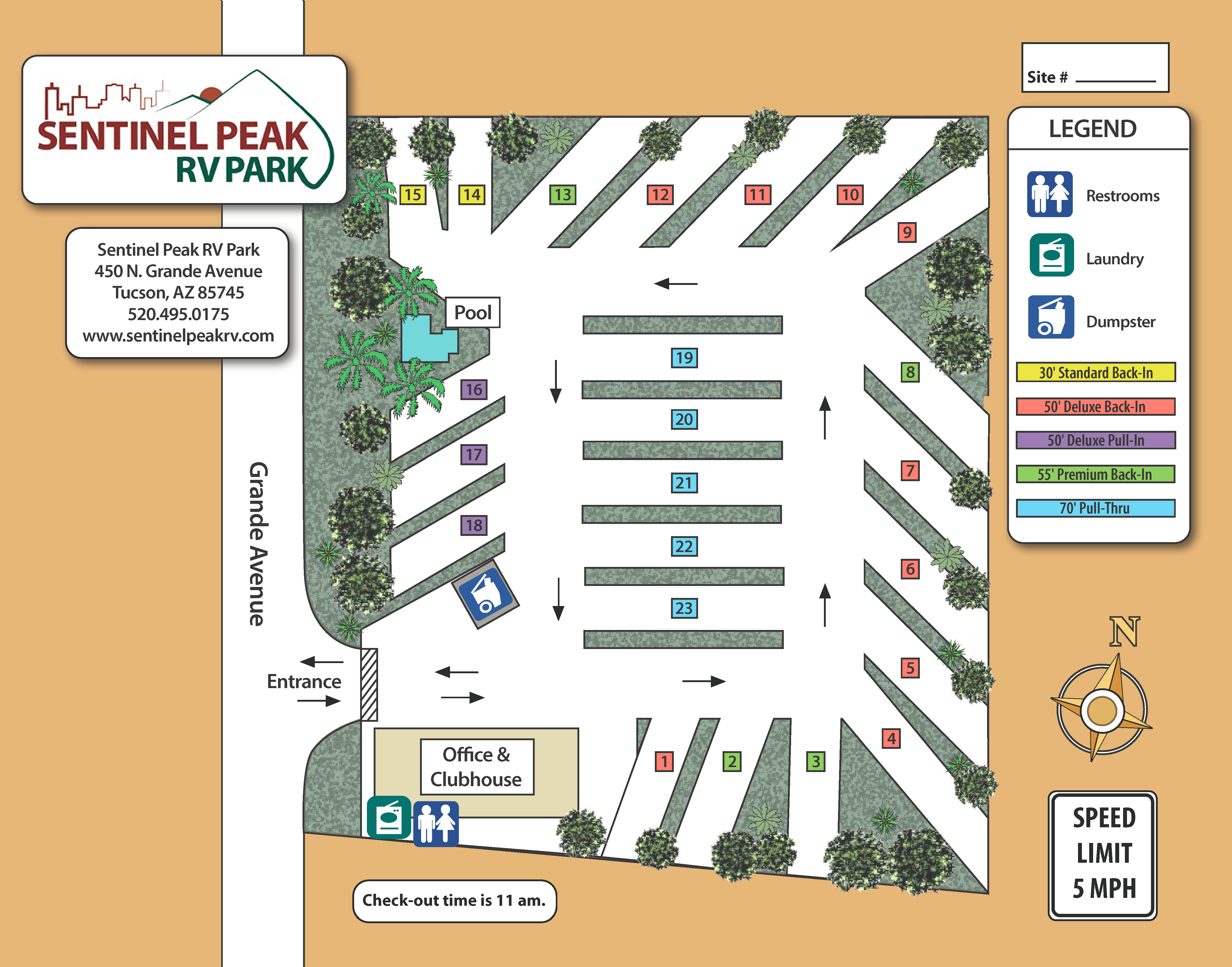 Sentinel Peak RV Park Map 2017